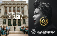 "Movie posters for ""The Trial of the Chicago 7"" and ""The Forty-Year-Old Version""."