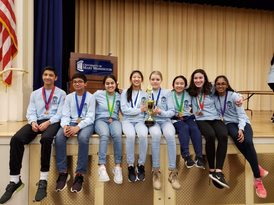 Sophomores Arnav Kadam, Manav Bharath, Richa Misra, Amy Wang, Miina Anvelt, Grace Guan, Emma Cox and Richa Gupta pose after a successful regional Science Olympiad tournament held in February of this year.