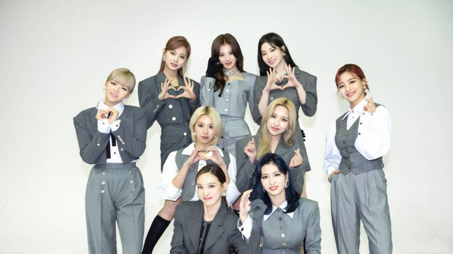 "Twice poses for a group photo for the title track ""I CAN'T STOP ME"" promotions in South Korea. From the back row to the front row and left to right, the nine members are Tzuyu, Sana, Dahyun, Jeongyeon, Chaeyoung, Mina, Jihyo, Nayeon, and Momo."