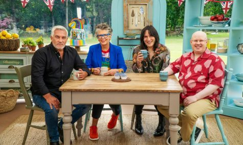 "From left to right, Paul Hollywood, Prue Leith, Noel Fielding and Matt Lucas, the judges and presenters of season 11 of ""The Great British Bake Off."""