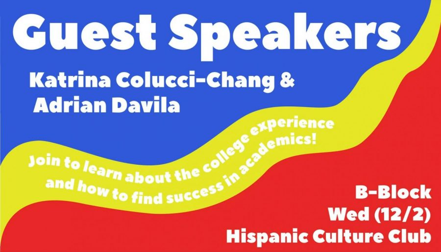 Hispanic Culture Club hosted two guest speakers, Katrina Colucci-Chang and Andrian Davila, on Dec. 2.