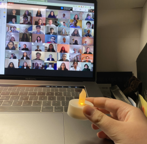Jefferson senior Minjoo Song is one of the NHS officers (her specific position being Secretary-Treasurer) who held a candle light to the camera for the candle lighting segment of the virtual induction ceremony.