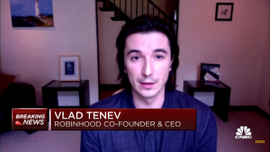 While on CNBC, Robinhood CEO Vladmir Tenev provides reasoning for Robinhood's restrictions on select stocks.