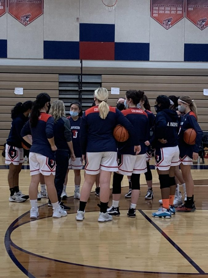 "Photo courtesy of TJ Colonials Sports. ""[At tryouts] masks were required at all times, and santization stations were set up so that after a ball was used, someone could clean it,"" Anjali Maddipatla, a freshman on the varsity team, said. ""We were required to bring our own water bottles so we didn't have to share."""
