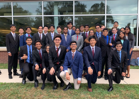 "Jefferson's Congressional Debate team poses before a tournament in 2019. The team has had to adjust to support each other in a now virtual setting, such as at Saturday's in-house. ""Every time we had a national tournament or local tournament, we would always meet as a team 30 minutes before to just talk to each other, hype each other up, give each other confidence. We still do that now. We always call one hour before [tournaments] and talk to each other,"" Nalluri said."
