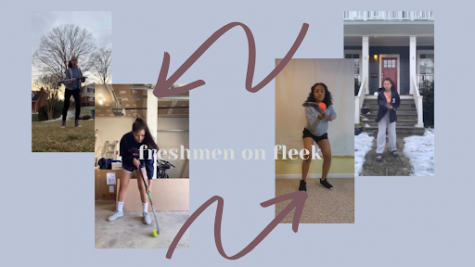 Together, the field hockey team films an Instagram TV video to encourage fun and engaging practices. From left to right, freshmen Nina Garces, Harshal Lobana, Tessa Joseph, and Avery Park show off their field hockey skills at home.