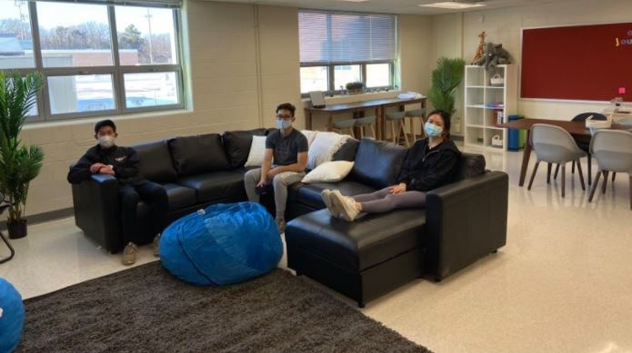"SGA officers sit in the new mental health and wellness room. After months of planning, they set up the room on Feb. 8. ""There wasn't a quiet space where students could unwind, [now there is],"" SGA Vice President Tiffany Ji said."