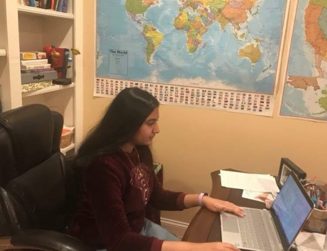"Senior Neha Sripathi works on her computer-based project for the 2021 Science and Engineering fair. ""Computational projects were the dominant type of projects submitted this year,"" Sripathi said."