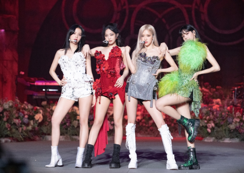 "Blackpink members Jisoo, Jennie, Rosé, and Lisa pose in their opening outfits of ""The Show,"" the group's virtual concert that took place on Jan. 31."