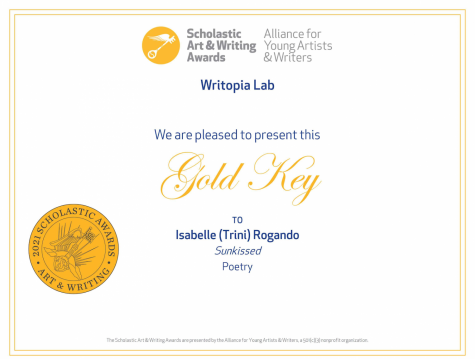 """Junior Trini Rogando receives a Scholastic Gold Key for her poetry entry, """"Sunkissed."""""""