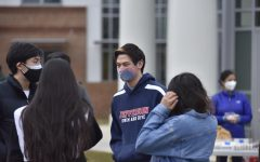 """Seniors gathered outside the dome at Jefferson on Feb. 27, 2021. They caught up with each other while snacking on food. """"It surprisingly went better than expected,"""" Hwang said. """"We expected a lot of people to not be able to come due to the drive to TJ, but it went pretty well."""""""
