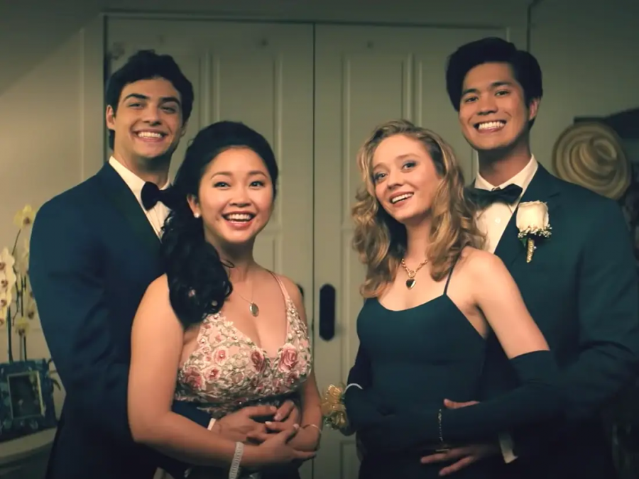 From left to right, Peter (Noah Centineo), Lara Jean (Lana Condor), Chrissy (Madeleine Arthur), and Trevor (Ross Butler) on their senior prom night.