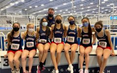 """The Jefferson indoor track and field girls team competed at states in a new facility at Virginia Beach; they raced at a time separate from the boys team. """"States are always a good experience. Just being with your friends, your teammates—you have a lot of fun,"""" junior Annika Topchy said."""