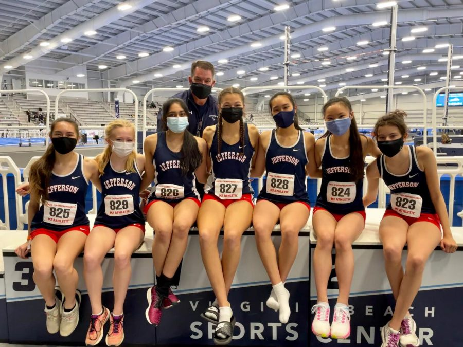 "The Jefferson indoor track and field girls team competed at states in a new facility at Virginia Beach; they raced at a time separate from the boys team. ""States are always a good experience. Just being with your friends, your teammates—you have a lot of fun,"" junior Annika Topchy said."