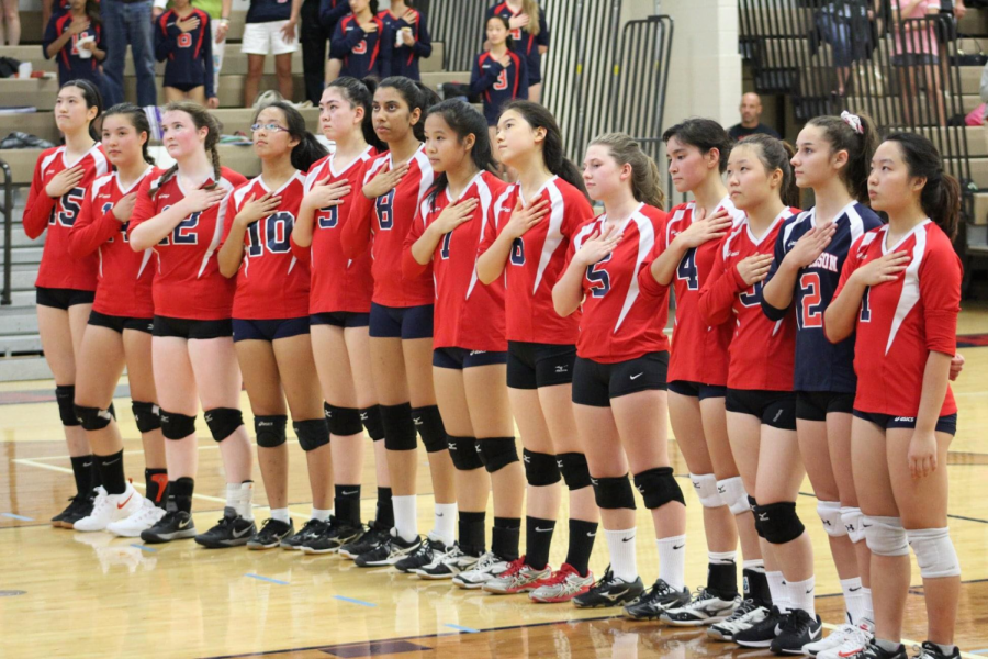 Jefferson's varsity volleyball team plays against Justice High School in September 2018.