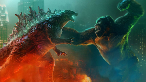"Godzilla (on the left) fighting King Kong (on the right) in ""Godzilla vs. Kong""."