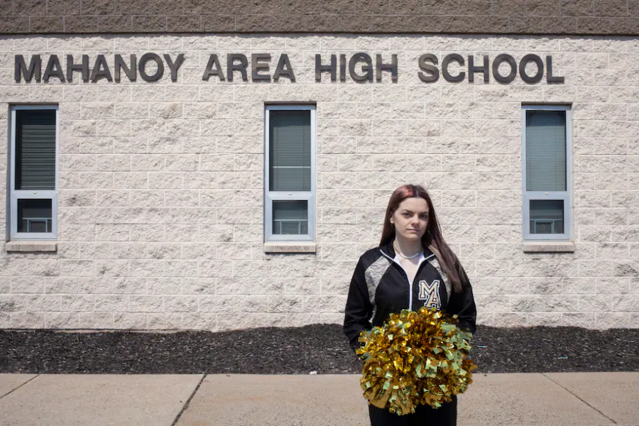 B.L., the appellee at the center of the Supreme Court case Mahanoy School District v. B.L., stands outside her school in Pennsylvania.