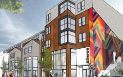 A rendering of a building designed by Gentges (class of 1992) features colorful sides and boxy modern construction.