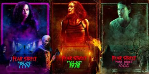 "Kiana Madeira, Olivia Scott Welch on the posters of the three ""Fear Street"" movies."