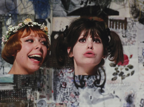 """Marie and Marie (Jitka Cerhová and Ivana Karbanová) goof around while their heads are detached from their bodies in """"Daisies""""."""