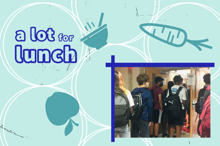 """Free lunches mixed with the return of students to in person learning produce a lunch line with wait times as long as 15 minutes. """"It can get really bad at times. If you aren't quick enough, you'll be stuck behind easily 100 students,"""" Elias said.  Photo by Robert Stotz."""