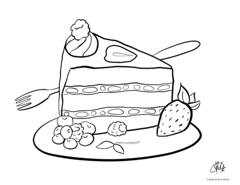 """This coloring page of a fruit cake is one of multiple coloring pages that Jefferon's art honor society created last year. Due to the pandemic, the NAHS wasn't able to continue their main project with Weyanoke Elementary School, so they created an art enrichment website. """"Rather than visiting Weyanoke alone, we instead had a website and provided video tutorials and coloring pages for the students,"""" senior Kat Kosolapova said."""